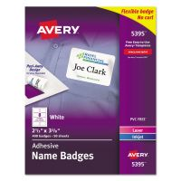 Avery Flexible Self-Adhesive Laser/Inkjet Name Badge Labels, 2 1/3 x 3 3/8, WE, 400/BX AVE5395