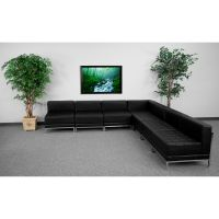 Flash Furniture HERCULES Imagination Series Black Leather Sectional Configuration, 7 Pieces FHFZBIMAGSECTSET6GG
