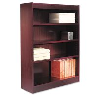 Alera Square Corner Wood Veneer Bookcase, Four-Shelf, 35-5/8 x 11-3/4 x 48, Mahogany ALEBCS44836MY