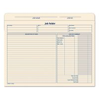 TOPS Jacket Style Job Folders, Straight, Index Top Tab, Letter, Manila, 20/Pack TOP3440