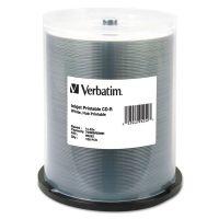 Verbatim CD-R, 700MB, 52X, White Inkjet Printable, Hub Printable, 100/PK Spindle VER95252