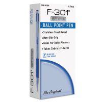 Zebra F-301 Ballpoint Retractable Pen, Blue Ink, Fine ZEB27120