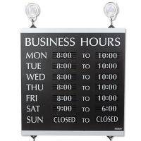 Headline Sign Century Series Business Hours Sign, Heavy-Duty Plastic, 13 x 14, Black USS4247
