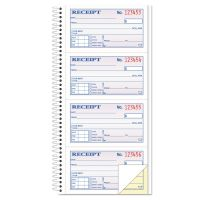 TOPS Money/Rent Receipt Spiral Book, 2-3/4 x 4 3/4, 2-Part Carbonless, 200 Sets/Book TOP4161