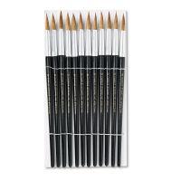 Charles Leonard Artist Brush, Size 12, Camel Hair, Round, 12/Pack LEO73512