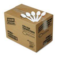 Dixie Plastic Cutlery, Mediumweight Teaspoons, White, 1000/Carton DXEPTM21
