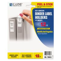 C-Line Self-Adhesive Ring Binder Label Holders, Top Load, 2 1/4 x 3 1/16, Clear, 12/PK CLI70023