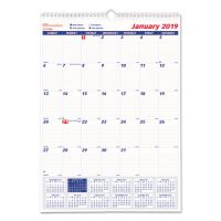 Brownline One Month Per Page Twin Wirebound Wall Calendar, 12 x 17, 2019 REDC171102