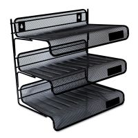 Universal Mesh Three-Tier Desk Shelf, Letter, Black UNV20006