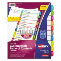 Avery Ready Index Table of Contents Dividers, Multicolor Tabs, 1-10, Letter AVE11842