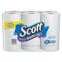 Scott Toilet Paper, 1-Ply, 1000 Sheets/Roll, 12 Rolls/Pack, 4 Pack/Carton KCC10060