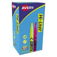 Avery HI-LITER Pen-Style Highlighter, Chisel Tip, Assorted Fluorescent Colors, 24/Pack AVE29861