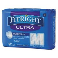 "Medline FitRight Ultra Protective Underwear, Medium, 28-40"" Waist, 20/Pack, 4 Pack/Ctn MIIFIT23005ACT"