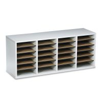 Safco Wood/Laminate Literature Sorter, 24 Sections, 39 1/4 x 11 3/4 x 16 3/8, Gray SAF9423GR
