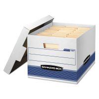 Bankers Box STOR/FILE Med-Duty Letter/Legal Storage Boxes, Locking Lid, White/Blue, 12/CT FEL00789