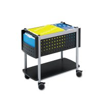 Safco Scoot Open Top Mobile File Cart, 28w x 14-3/4d x 26h, Black With Silver SAF5373BL