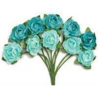 """Mini Paper Blooms .5"""" Flowers W/Wire Stems 10/Pkg NOTM272304"""