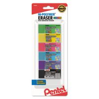 Pentel Hi-Polymer Block Eraser, Assorted, 6/Pack PENZEH05CRBP6M