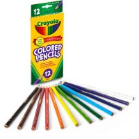 Crayola Long Barrel Colored Woodcase Pencils, 3.3 mm, 12 Assorted Colors/Set CYO684012