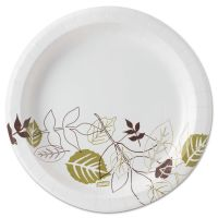 "Dixie Pathways Soak-Proof Shield Mediumweight Paper Plates, 8 1/2"", Grn/Burg, 1000/Ct DXEUX9PATH"
