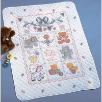Babies Are Precious Crib Cover Stamped Cross Stitch Kit NOTM230066