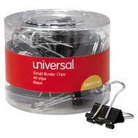 """Universal Small Binder Clips, 3/8"""" Capacity, 3/4"""" Wide, Black, 40/Pack UNV11140"""