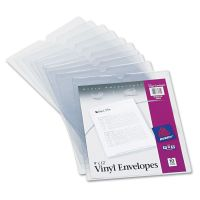 """Avery Top-Load Clear Vinyl Envelopes w/Thumb Notch, 9"""" x 12"""", Clear, 10/Pack AVE74804"""