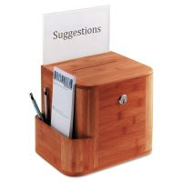 Safco Bamboo Suggestion Box, 10 x 8 x 14, Cherry SAF4237CY