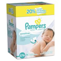Pampers Sensitive Baby Wipes, White, Cotton, Unscented, 64/Pack, 9 Pack/Carton PGC88529CT
