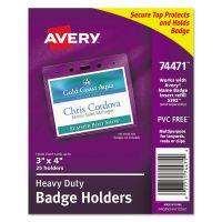 Avery Secure Top Heavy-Duty Badge Holders, Horizontal, 4w x 3h, Clear, 25/Pack AVE74471