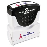 ACCUSTAMP2 Pre-Inked Shutter Stamp, Red/Blue, FOR DEPOSIT ONLY, 1 5/8 x 1/2 COS035523