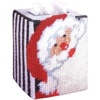 Santa Tissue Box Plastic Canvas Kit NOTM051586