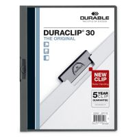 Durable Vinyl DuraClip Report Cover, Letter, Holds 30 Pages, Clear/Graphite, 25/Box DBL220357