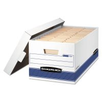 Bankers Box STOR/FILE Storage Box, Letter, Locking Lid, White/Blue, 4/Carton FEL0070104