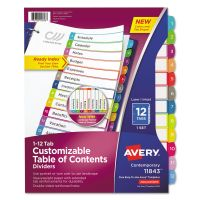 Avery Ready Index Table of Contents Dividers, Multicolor Tabs, 1-12, Letter AVE11843