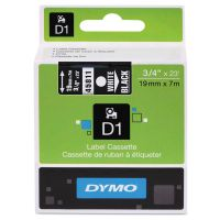 "DYMO D1 High-Performance Polyester Removable Label Tape, 3/4"" x 23 ft, White on Black DYM45811"