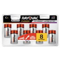 Rayovac Fusion Advanced Alkaline Batteries, C, 8/Pack RAY8148LTFUSK