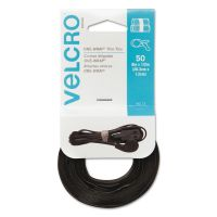 """Velcro ONE-WRAP Hook & Loop Ties, 1/2"""" x 8"""", Black, 50/Pack VEK95172"""