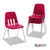 "Virco 9000 Series Classroom Chair, 18"" Seat Height, Red/Chrome, 4/Carton VIR901870"