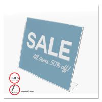 deflecto Classic Image Slanted Sign Holder, Landscaped, 11 x 8 1/2 Insert, Clear DEF66701
