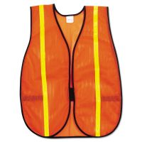 MCR Safety Polyester Mesh Safety Vest, 3/4 in., Lime Green Stripe, One Size Fits All RVRV211R