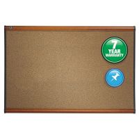 Quartet Prestige Bulletin Board, Brown Graphite-Blend Surface, 72 x 48, Cherry Frame QRTB247LC