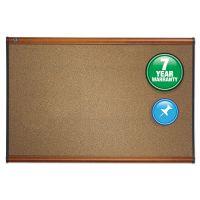 Quartet Prestige Bulletin Board, Brown Graphite-Blend Surface, 36 x 24, Cherry Frame QRTB243LC