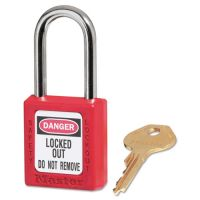 "Master Lock Government Safety Lockout Padlock, Zenex, 1 1/2"", Red, 1 Key, 6/Box MLK410RED"