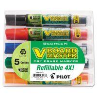 Pilot BeGreen Dry Erase Marker, Assorted, Chisel, 5/Pack PIL43917