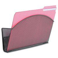 Safco Onyx Magnetic Mesh Panel Accessories, Single File Pocket, Black SAF4176BL