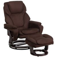 Flash Furniture Contemporary Brown Microfiber Recliner and Ottoman with Swiveling Mahogany Wood Base FHFBT70222MICFLAIRGG