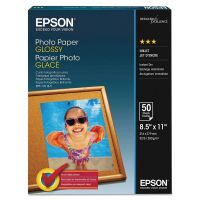 Epson Glossy Photo Paper, 52 lbs, Glossy, 8-1/2 x 11, 100 Sheets/Pack EPSS041271