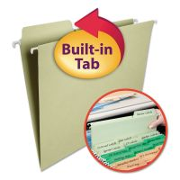 Smead FasTab Hanging File Folders, 1/3 Tab, Letter, Moss Green, 20/Box SMD64082