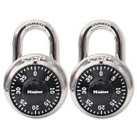 "Master Lock Combination Lock, Stainless Steel, 1 7/8"" Wide, Black Dial, 2/Pack MLK1500T"